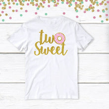 Load image into Gallery viewer, 1 pc two sweet donut 100% COTTON short sleeve t-shirt for second birthday toddler girl spring summer champagne gold glitter donut grow up