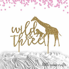 Load image into Gallery viewer, 1 pc wild & three jungle safari animals cake topper 3rd third birthday toddler girl boy summer theme DOUBLE SIDED gold green silver glitter
