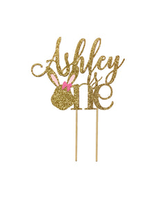 1 pc custom personalised is one bunny head pink blue silver gold glitter cake topper party theme first birthday boy girl some bunny is one