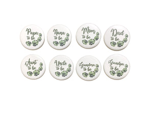 1 pc Mom Dad Nana Papa Grandma Grandpa Uncle Aunt to be palm leaf jungle nature tropical badge pin pinback button baby shower party favors