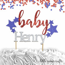 Load image into Gallery viewer, 1 pc custom ANY baby name star patriotic red and blue glitter cake topper party theme baby shower boy girl 4th of july Independence Day