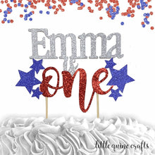 Load image into Gallery viewer, 1 pc custom ANY name is one  star patriotic red and blue glitter cake topper party theme 1st first birthday boy girl 4th of July cake smash
