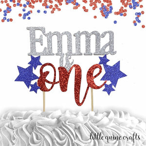 1 pc custom ANY name is one  star patriotic red and blue glitter cake topper party theme 1st first birthday boy girl 4th of July cake smash