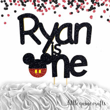 Load image into Gallery viewer, 1 pc custom personalised ANY name is one Mickey inspired DOUBLE SIDED black red glitter cake topper cake smash first birthday toddler boy