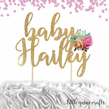 Load image into Gallery viewer, 1 pc custom personalize ANY baby name flower roses floral DOUBLE SIDED Gold Glitter Cake Topper girl baby shower she is a wild flower boho