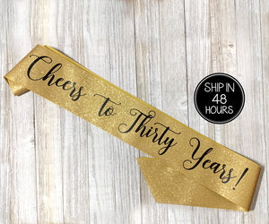 1 piece Cheers to twenty Years! Birthday Girl All Over REAL GLITTER SASH rose gold glitter thirty forty fifty sixty birthday prop gift