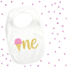 Load image into Gallery viewer, 1 piece one ice cream pink mint lt blue and gold glitter bib toddler boy girl for first birthday gift cake smash photo prop summer sweet one