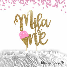 Load image into Gallery viewer, 1 pc custom ANY name is one ice cream pink blue mint yellow gold glitter cake topper party theme first summer birthday boy girl cake smash