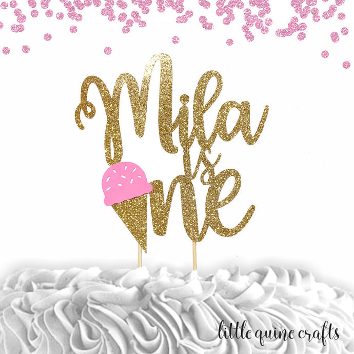 1 pc custom ANY name is one ice cream pink blue mint yellow gold glitter cake topper party theme first summer birthday boy girl cake smash