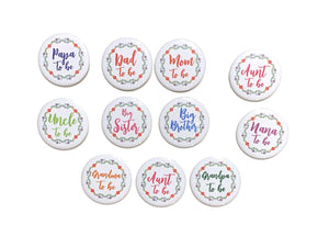 Mom Dad Grandma Grandpa Papa Nana Uncle Aunt to be big sister brother pinback Fiesta cinco de mayo mexican baby shower party favors gift
