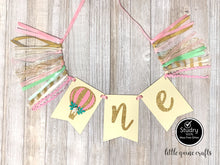 Load image into Gallery viewer, One hot air balloon Rag Tie pennant Banner Gold Glitter High Chair Banner pennant cake smash Photo prop Decoration up up & away 1st Birthday