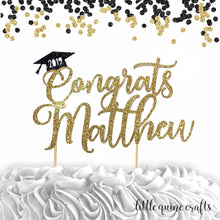 Load image into Gallery viewer, 1 pc Congrats 2019 custom Any name personalised Graduation hat cap DOUBLE SIDED gold black glitter cake topper congrats grad party decor
