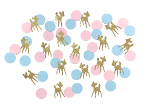 100 pcs baby deer fawn Gold Glitter pink blue circle confetti gender reveal baby shower birthday table party decoration woodland animals