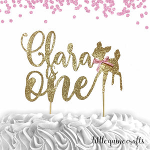 1 pc custom personalize ANY name is one deer fawn pink blue DOUBLE SIDED gold glitter cake topper smash boy girl winter wonderland woodland