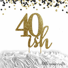 Load image into Gallery viewer, 1 pc 20ish 30ish 40ish 50ish 60ish 70ish 80ish 90ish gold silver red black rose gold glitter birthday party cake topper
