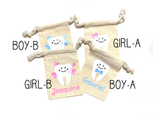 1 pc Tooth Fairy custom name Personalized muslin bag pouch for boy or girl