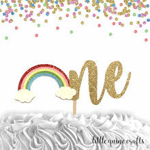 Load image into Gallery viewer, 1 piece one rainbow cake topper gold glitter for first birthday cake smash boy girl photo prop unicorn stay magical spring summer