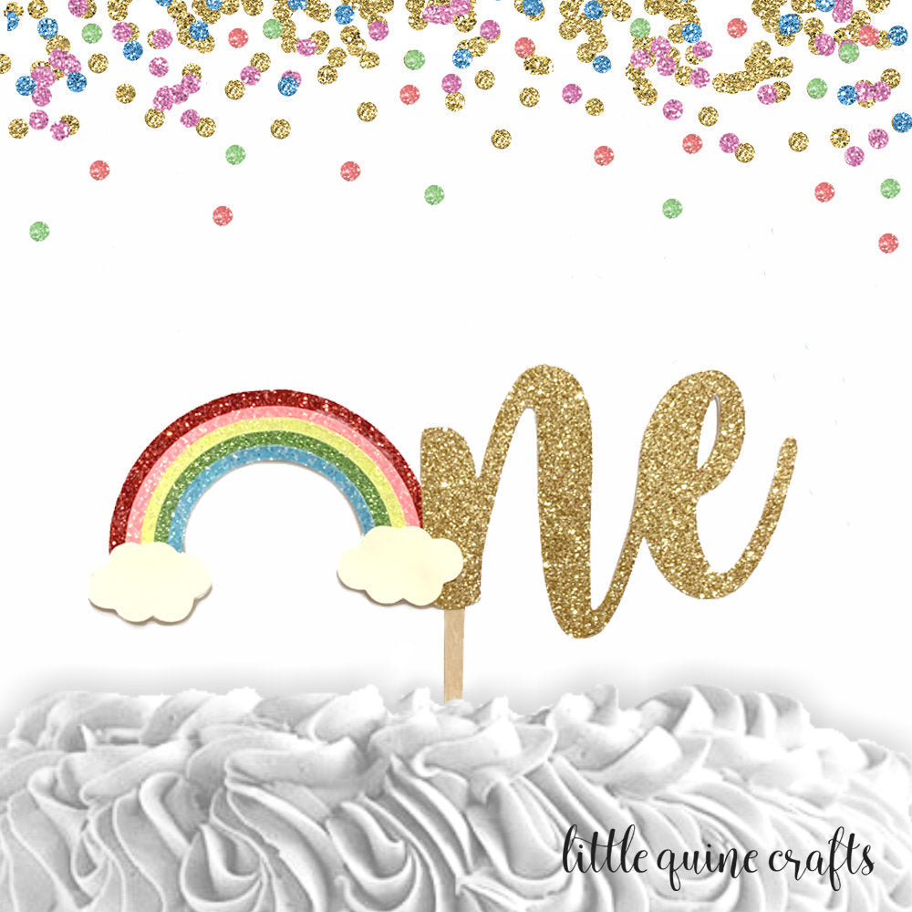 1 piece one rainbow cake topper gold glitter for first birthday cake smash boy girl photo prop unicorn stay magical spring summer