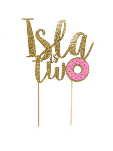 1 pc custom personalise ANY name is two donut DOUBLE SIDED Gold Silver Glitter Cake Topper Toddler girl second 2nd Birthday donut grow up