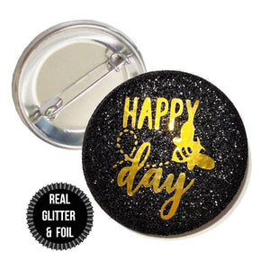 1 Piece bee day girl, It's my bee day, Happy Bee Day REAL Fine Sparkly Glitter badge pin pinback button birthday girl favors gift