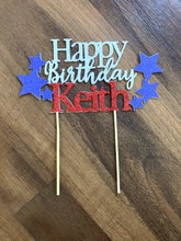 Load image into Gallery viewer, 1 pc Happy Birthday custom ANY name star patriotic red and blue glitter cake topper party boy girl 4th of July