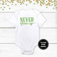 Load image into Gallery viewer, 1 pc NEVER grow up 100% COTTON short sleeve baby body suit first birthday boy girl peterpan tinkerbell champagne gold green black glitter