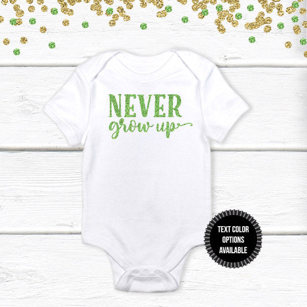 1 pc NEVER grow up 100% COTTON short sleeve baby body suit first birthday boy girl peterpan tinkerbell champagne gold green black glitter
