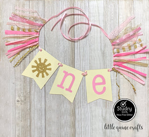 One sun sunshine Rag Tie pennant Banner pink Gold Glitter High Chair Banner cake smash Photo prop Decor you are my sunshine 1st Birthday
