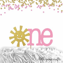 Load image into Gallery viewer, 1 pc one sunshine script Pink Blue Gold Glitter Cake Topper for first Birthday Toddler Boy Girl you are my sunshine