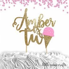 Load image into Gallery viewer, 1 pc custom ANY name is two ice cream pink blue mint yellow gold glitter cake topper party theme second summer birthday boy girl two sweet