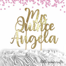 Load image into Gallery viewer, 1 pc custom Mis Quince personalise ANY name topper 15th birthday DOUBLE SIDED gold glitter cake topper party decoration