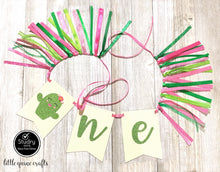 Load image into Gallery viewer, One cute cactus girl flowers Rag Tie pennant Banner pink Green Glitter High Chair Banner cake smash Photo prop Decor First fiesta birthday