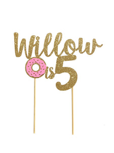 1 pc custom personalize Any name is 5 6 7 8 9 10 ANY age donut DOUBLE SIDED Gold Silver Glitter Cake Topper boy girl Birthday donut grow up