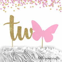 Load image into Gallery viewer, 1 pc one two butterfly cake topper green gold glitter party theme first second 1st 2nd birthday girl spring summer garden tea party