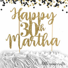 Load image into Gallery viewer, 1 pc Happy custom personalise ANY age 18 20 21 30 35 40 45 50 55 60 personalise name DOUBLE SIDED Gold Silver Glitter Cake Topper Birthday