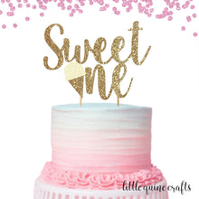 "Load image into Gallery viewer, 1 pc ""Sweet One"" ice cream script Rose Gold Glitter Cake Topper for first Birthday Baby girl cake smash"