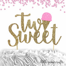 "Load image into Gallery viewer, 1 pc ""two Sweet"" ice cream script Gold Green Glitter Cake Topper for second Birthday Toddler boy girl summer party"
