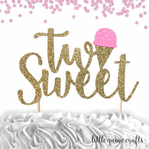 "1 pc ""two Sweet"" ice cream script Gold Green Glitter Cake Topper for second Birthday Toddler boy girl summer party"