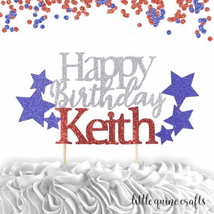 1 pc Happy Birthday custom ANY name star patriotic red and blue glitter cake topper party boy girl 4th of July