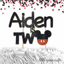 Load image into Gallery viewer, 1 pc custom personalised ANY name is two Mickey inspired black red glitter cake topper party theme second birthday toddler boy