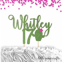 Load image into Gallery viewer, 1 pc custom ANY name ANY age cactus cacti flower cake topper green glitter fiesta mexican birthday girl cinco de mayo