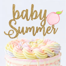 Load image into Gallery viewer, 1 pc custom personalise ANY baby name peach DOUBLE SIDED Gold Glitter Cake Topper baby shower girl tutti fruity fruit