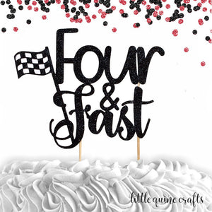 1 pc  Four & Fast Race car Racing theme cake topper for 4th fourth birthday boy girl birthday prop decor
