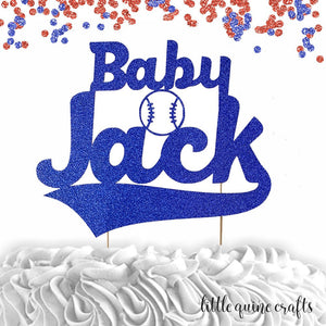 1 pc custom ANY baby name baseball red and blue glitter cake topper party theme baby shower boy sport homerun