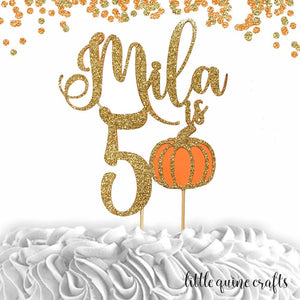 1 pc custom personalize name is 1 2 3 4 5 6 7 8 9 10 ANY age pumpkin DOUBLE SIDED Gold Orange Glitter Cake Topper boy girl Birthday fall