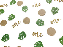 Load image into Gallery viewer, 100 pcs Kraft green Gold Glitter jungle palm monstera leaf wild one confetti safari birthday table party first birthday 1 decoration