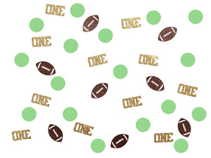 100 pcs green brown Gold Glitter one football touch down sports Super Bowl first birthday boy table party decor