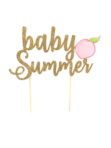 1 pc custom personalise ANY baby name peach DOUBLE SIDED Gold Glitter Cake Topper baby shower girl tutti fruity fruit