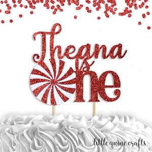 1 pc custom ANY name is one peppermint red glitter cake topper party first birthday boy girl winter Christmas candy sweet land onederland
