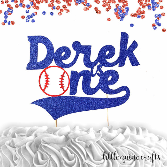 1 pc custom ANY name is one baseball red and blue glitter cake topper party theme 1st first birthday boy sport homerun cake smash